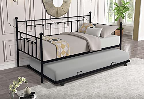 Twin Size Metal Frame Daybed with Trundle,Heavy Duty Steel Slat Support Saving Space Bed Sofa,Bedroom Living Room Furniture for Guest,No Spring Box Needed Black