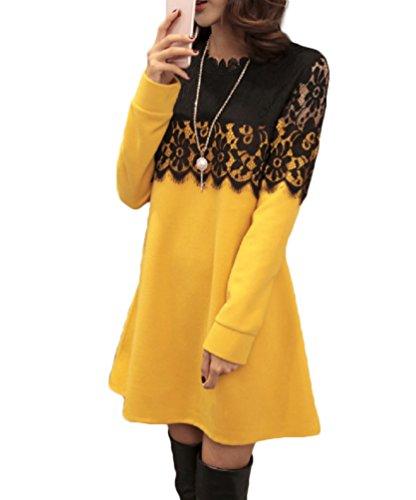 【Smile LaLa】 ゆったり 長袖 花柄 レース aライン フレア ワンピース レディース 刺繍 シック 異素材 シフォン ドレス ひざ丈