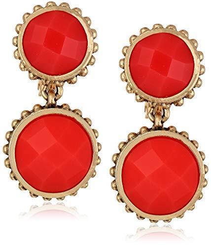 Napier Women's Gold/Coral EZ Comfort Clip Circle Double Drop Earrings