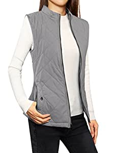 Allegra K Women's Stand Collar Lightweight Gilet Quilted Zip Vest Gray X-Small