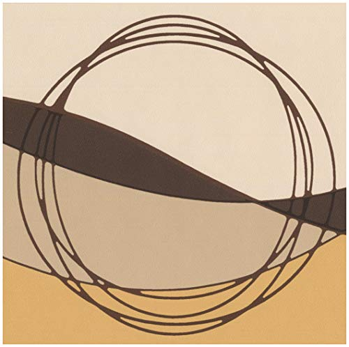 Brown Beige Black Abstract Wallpaper Border Circles Wave Design, Roll 15' x 7''