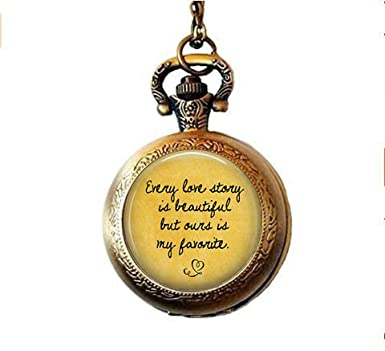 Amazoncom Love Quote Pocket Watch Necklace Every Love Story Is