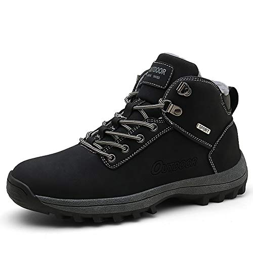 JITUUE Waterproof Snow Boots for Men Hiking Non Slip Work Shoes Outdoor Mid Lace Up Ankle Booties (US 10, Black)