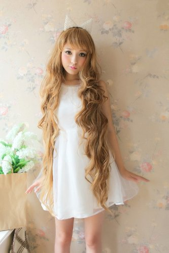 X&Y ANGEL- New Godiva Extra Long Lolita Full Natural Wavy Heat Resistant Hair Wig Blonde Wigs K048 (Extra Wig Long)