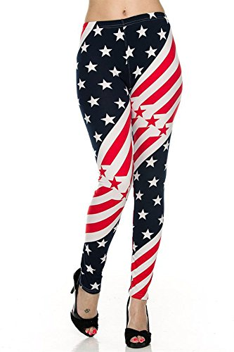 World of Leggings® PLUS SIZE Star Twist USA Flag Leggings