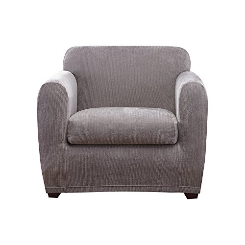 Sure Fit Ultimate Stretch Chenille Chair Slipcover - Gray (SF45887)