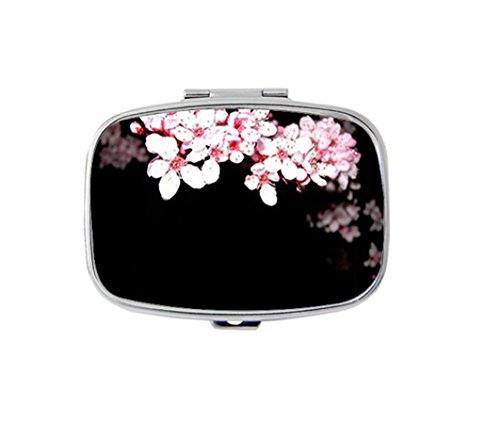 (Cherry Blossom Flower Custom Fashion Silver Square Pill Box Medicine Tablet Holder Wallet Organizer Case for Pocket or Purse)