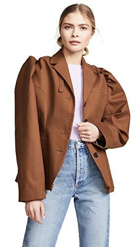 pushBUTTON Women's Puff Sleeve Blazer, Brown, ()