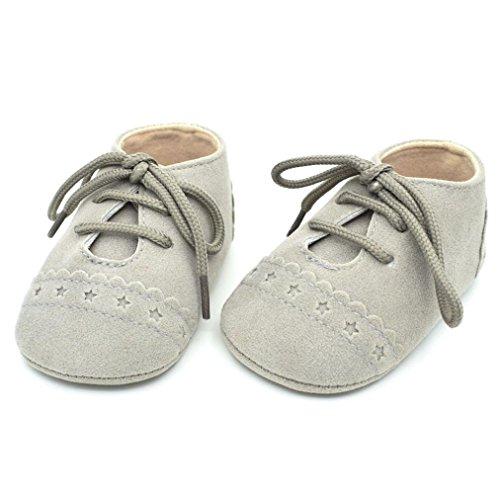 Omiky® Baby Kleinkind Schuhe Sneaker Anti-Rutsch-Soft Sole Schnürschuhe Grau
