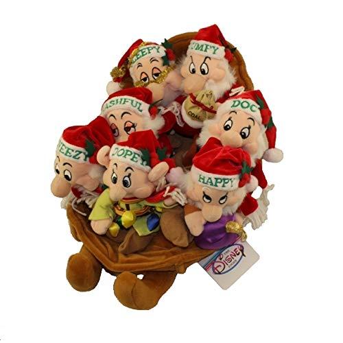 Walt Disney Seven Dwarfs Christmas Xmas Holiday Sleigh / Sleighride Bean Bag Set