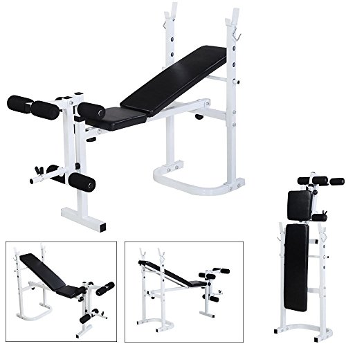 Bonnlo Adjustable Folding Weight Lifting Flat Incline Weight Bench