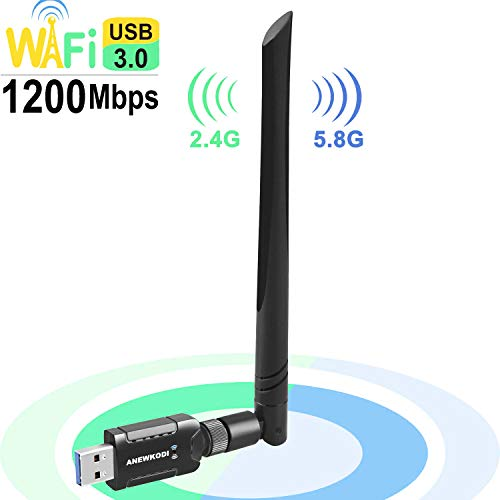 USB WiFi Adapter 1200Mbps for PC Desktop Laptop, ANEWKODI Dual Band (2.4G/300Mbps+5.8G/866Mbps) Network LAN Card with High Gain External Antenna for Windows Vista/7/8/8.1/10 MAC Linux