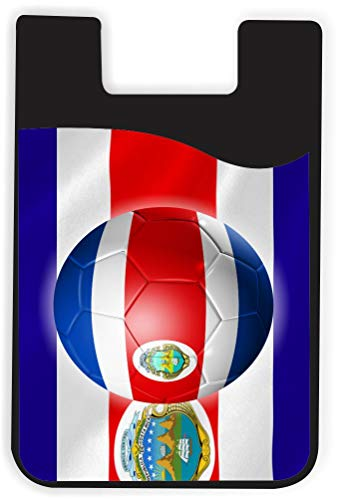 Costa Phone Rica Cards (Rikki Knight World Cup Costa Rica Flag Design Silicone Phone Card Holder wallet for iPhone/Galaxy all Android Smartphones - with removable soft microfiber screen cleaner)