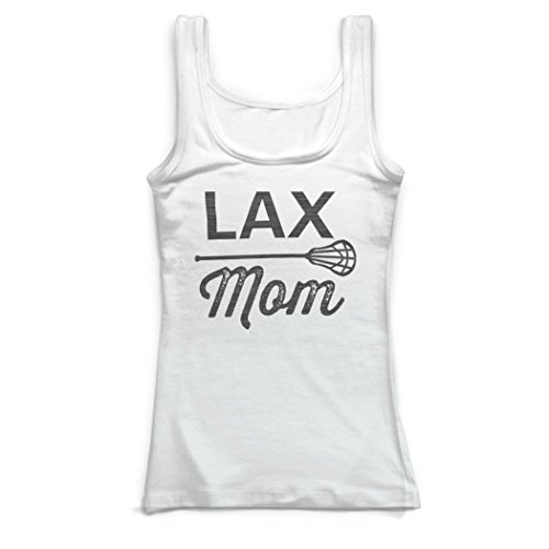 ChalkTalkSPORTS Girls Lacrosse Vintage Fitted Tank Top - Lax Mom White ()