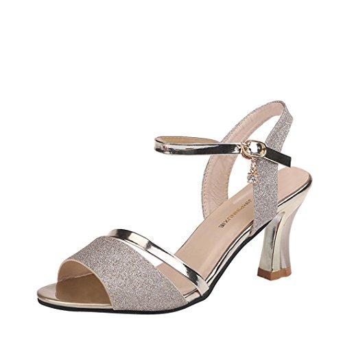 SANFASHION Sandales à Talons Femmes Chaussures Paillettes Cheville Block Party Open Toe Romaines Tendance Or qSahCckV7