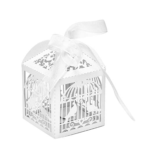 Mariage Invitation - 10pcs White Sweets Box Hollow Cut Bird Candy Boxes Baby Shower Gifts Wedding Decorations Invitations - Decoration Invitations Invitation Mariage ()