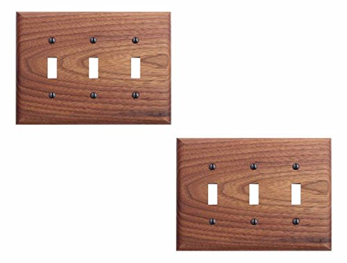 Walnut Triple Toggle Switch Plate ()