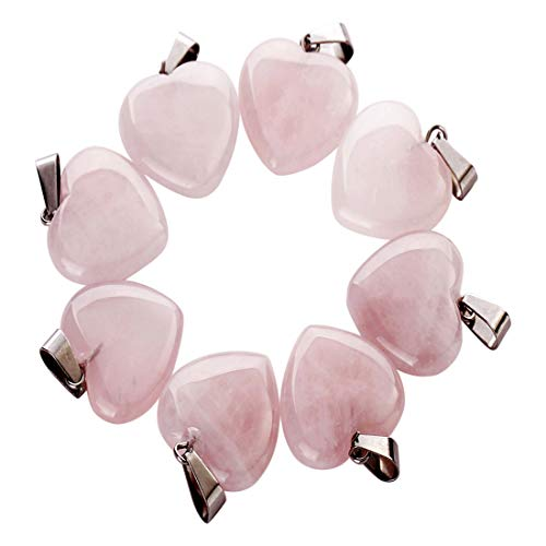 - Fashion Natural Rose Quartz Stone Heart Shape Bead Pendant 20mm DIY Jewelry Making for Women (5)