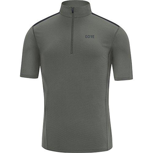 GORE Wear Men's Breathable Short Sleeve Running Shirt, GORE Wear R5 Zip Shirt, Size: L, Color: Castor Gray, 100140