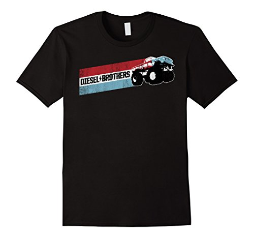 - Diesel Brothers Red White Blue Stripe Truck Graphic T-Shirt
