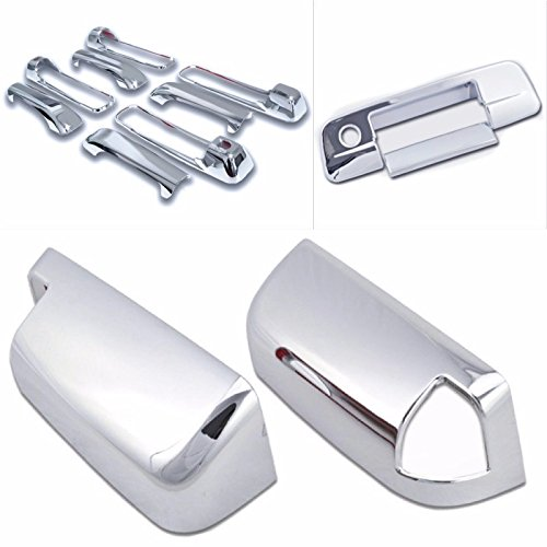 Cobra-Tek 2009-2016 Dodge Ram Chrome Door Handle Cover 4D (With Passenger Keyhole) & Tailgate Handle Cover (With Keyhole) & Towing Mirror Cover (With Signal Light Cut Out) Combo ()