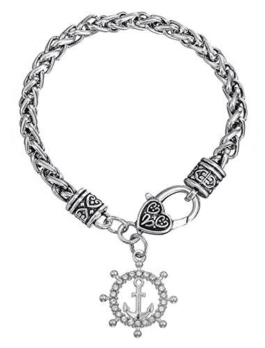Dawapara Punk Nautical Anchor Rudder Pendant Wheat Chain Brave Bracelet Sailor Seafarer Voyager Gifts Jewelry