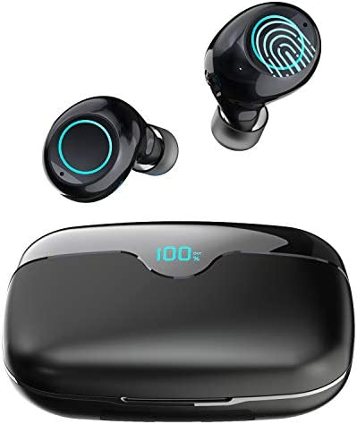 iWALK True Wireless Earbuds Bluetooth 5.0 with 2500mAh Charging Case, 80H Playtime Instant Pairing IPX5 Waterproof, Touch Control Wireless Earphones with Built-in Mic for iOS Android, Black