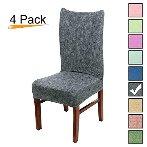 Stretch Dining Room Chair Covers Soft Spandex Seat Protector Removable Slipcover for Hotel Wedding Party Set of 4, Grey