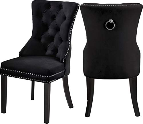 Meridian Furniture 740Black-C Nikki Dining Chair with Wood Legs, Luxurious Button Tufting, and Chrome Nailhead Trim, 23
