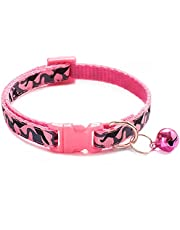 Cat Collar with Bell,Pet Necklace for Puppy Small Dog Kitten Kitty Collar with Camouflage Pattern for Walking Training Adjustable Length(1 Pack)