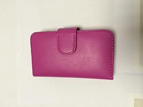 Esecutivo Brillante di Apple iPhone 4 4S rosa caldo Portafoglio con due fessure per carta PU Leather Case Cover per Apple iPhone 4 4S
