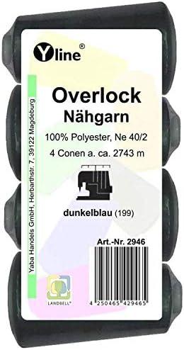 4 Stück Spulen Overlock - Nähgarn, dunkel - blau, a. 2743 m, NE 40/2, 100% Polyester, Nähfaden, Nähmaschinen Garn, 2946