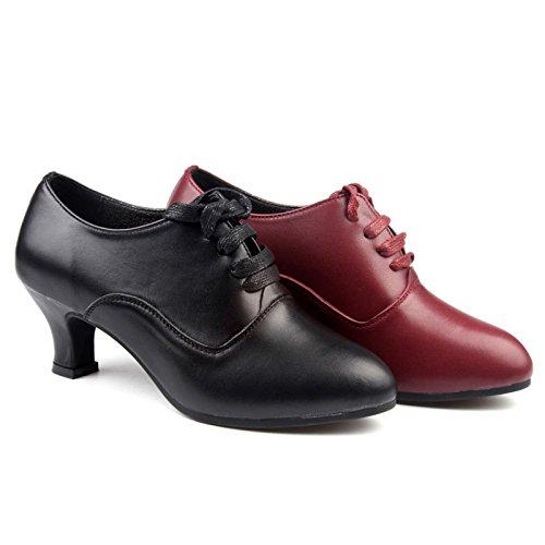 SQIAO-X- Scarpe da ballo in pelle fondo morbido scarpe da ballo donna High-Heeled amicizia danza danza moderna latino scarpe da ballo 37 yards, nero (all'aperto)