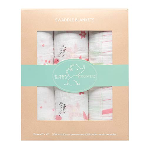 - Baby Swaddle Sampler - 3-Pack Newborn 100% Organic Cotton Muslin Swaddle Blankets Neutral Receiving Blanket for Boys and Girls, Large.