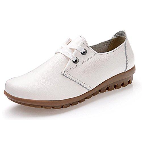 Hoxekle Kvinna Bowknot Runda Tår / Perforerade / Brittisk Stil / Plattform Oxford Skor / Vintage Oxford Skor Vita