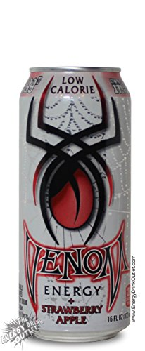 16 Pack - Venom Energy - Low Calorie Strawberry Apple - 16oz.+Energy Drink Outlet Sticker