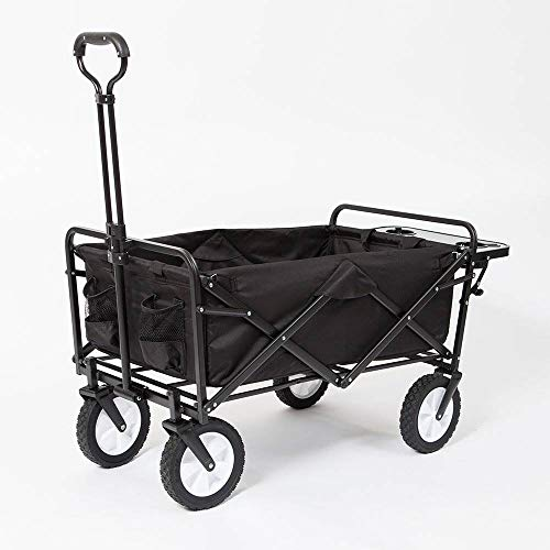 Mac Sports Collapsible Folding Outdoor Garden Utility Wagon Cart w Table, Black