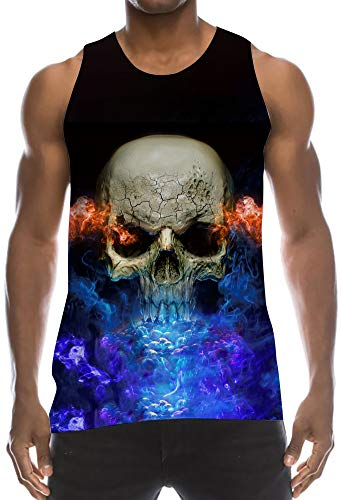 Awesome 3D Cool Digital Print Tank Tops Vintage Athletic Fit Elongated Vest Scary Brown Skull Red Fire Royal Purple Smoke Basic Tribal Sleevless Shirt for Campus Beach Party Vacation Holiday