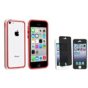 Quaroth eForCity Clear/ Red TPU Rubber Bumper with FREE Privacy Screen Cover Compatible with Apple iPhone 5C