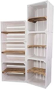 Moooble - Juego de 6 cajas de madera en color blanco y flameado, 3 ...