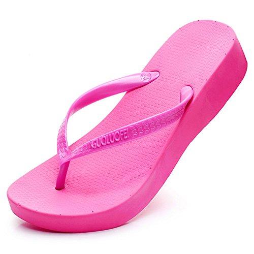 FEI Mädchen Sandalen Weibliche Dicke Wasserdichte Pantoffeln Strandschuhe Pure Farbe Frauen Cool Pantoffeln (weiß, Beige, Schwarz, Blau, Grau, Rosa) Rutschfest ( Farbe : Schwarz , größe : EU39/UK6.5/C Pink