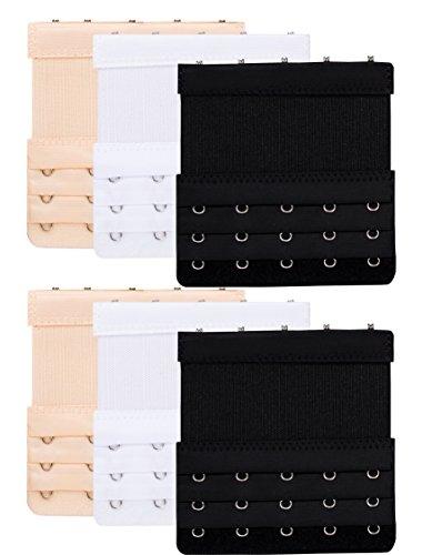 Women Elastic Bra Extender 5 Hook for Plus Size Bras Back Extension Strap 6pcs 5 Hook Bra Extenders