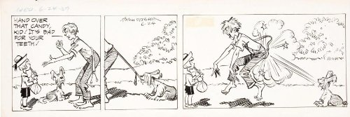 Napoleon and Uncle Elby by Clifford McBride and Rodger Armstrong Newspaper Daily (June 24, 1959) Ink and Watercolor Original Comic Strip Art Candy Bully