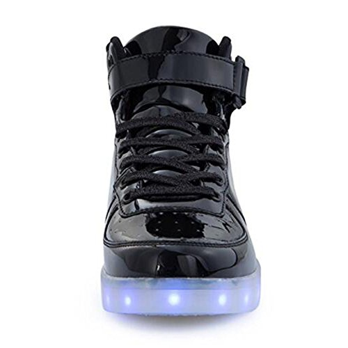 KUshopfast Kinder leuchten Schuhe Jungen und Mädchen High Top LED Energy Lights Turnschuhe (perfektes Geschenk für Kinder und Jugendliche) Schwarz3