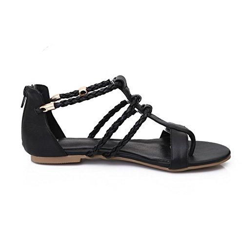 Toe Zipper Schwarz PU AgooLar Sandalen Low Solid Heels Split Frauen wqXwcO6t