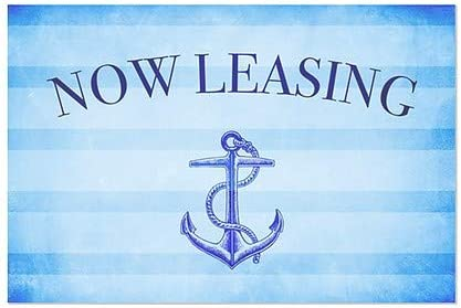 27x18 5-Pack Now Leasing Nautical Stripes Window Cling CGSignLab