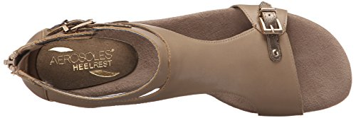 41mYJGgldPL Aerosoles Women's YET Another Wedge Sandal, Taupe Combination, 9 M US