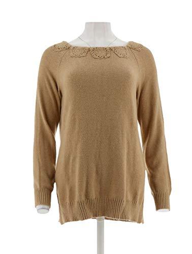 Liz Claiborne NY Pullover Sweater Crochet Bateau Ribbed Cuffs Hem New A268717 Camel Heather