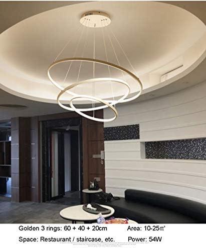 Modern Urban Design 3 Ring Golden Kronleuchter Höhenverstellbar Silikonschirm Aluminium Lampenkörper Inneres Leuchten Pendelleuchte Treppe Restaurant Dimmbar Lampen Mit Fernbedienung 54W