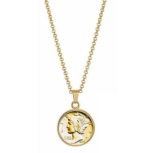 Dime Pendant (American Coin Treasures Gold-Layered Silver Mercury Dime Goldtone Coin Pendant with 18